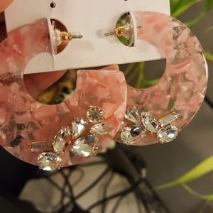 NEW Acrylic crystal accented earrings